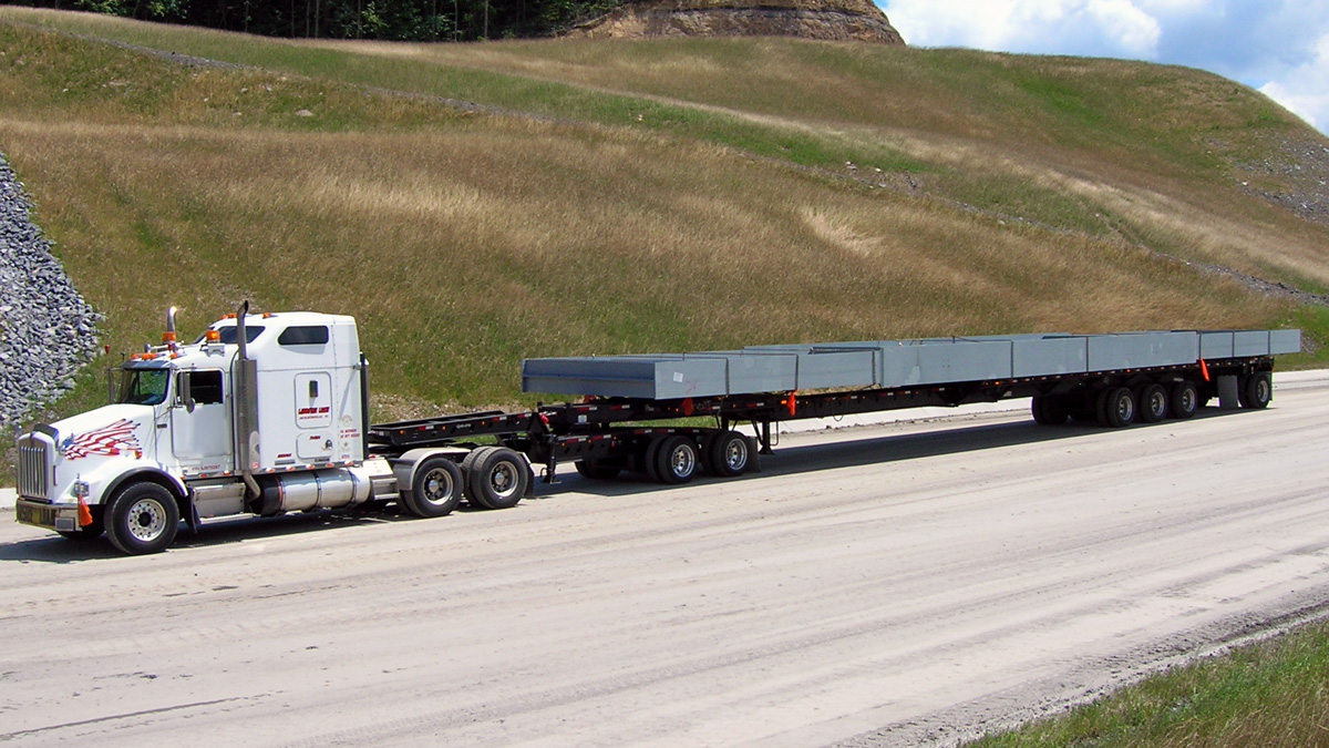 Steel Girder on Stretch Flatbed Image